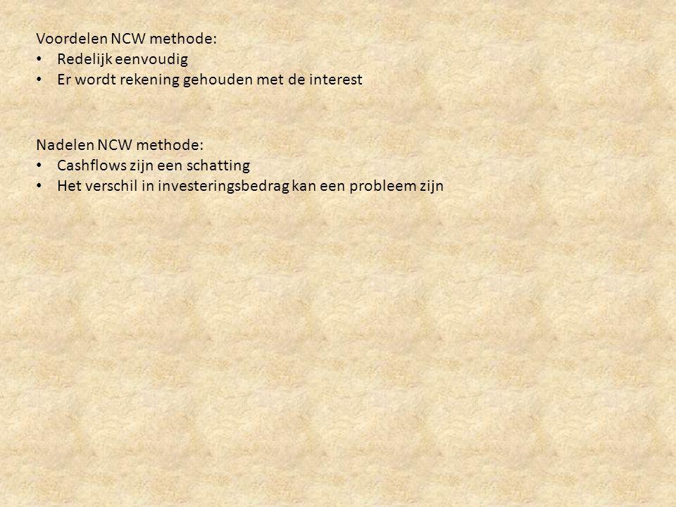 Voordelen NCW methode:
