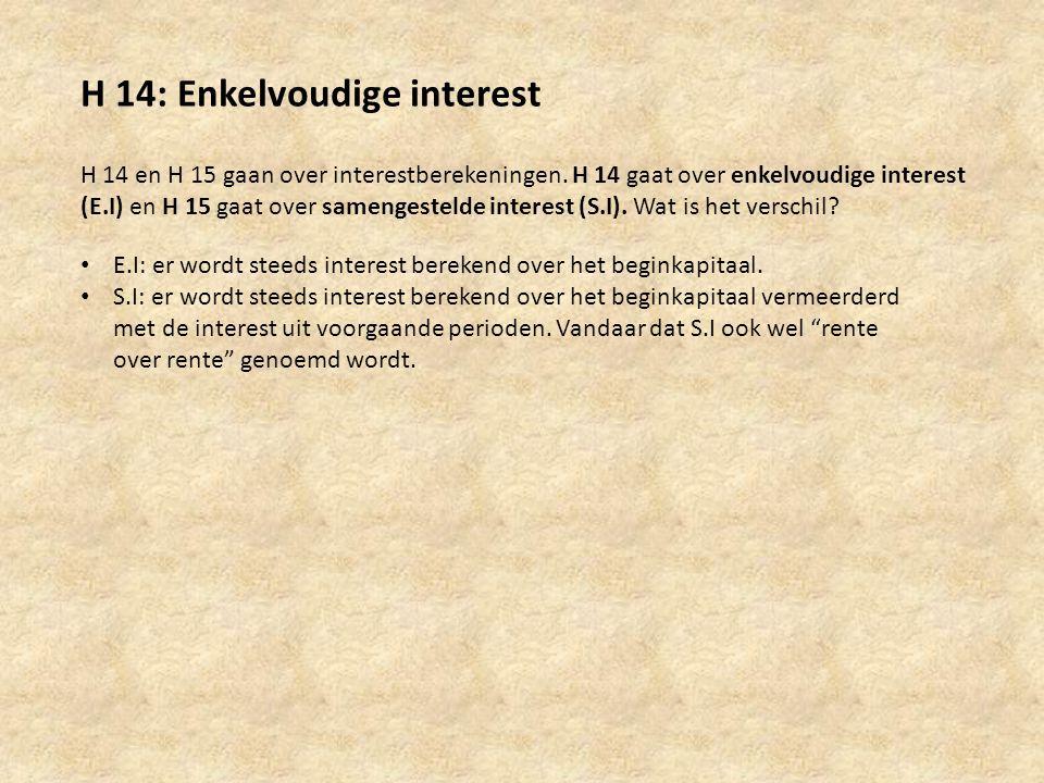 H 14: Enkelvoudige interest