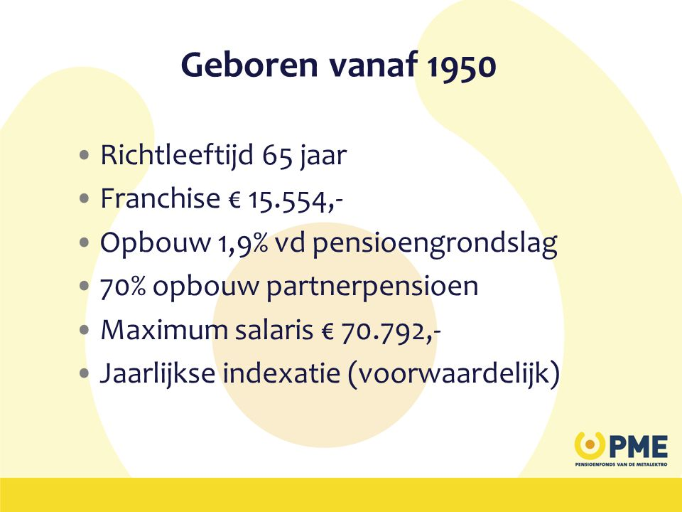 Geboren vanaf 1950 Richtleeftijd 65 jaar Franchise € 15.554,-