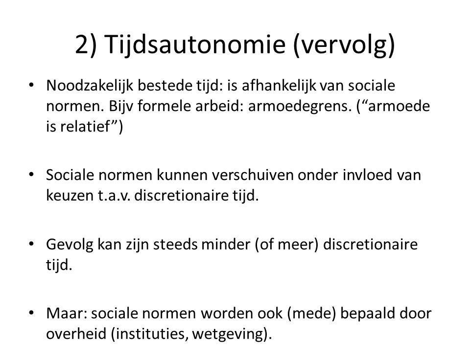 2) Tijdsautonomie (vervolg)