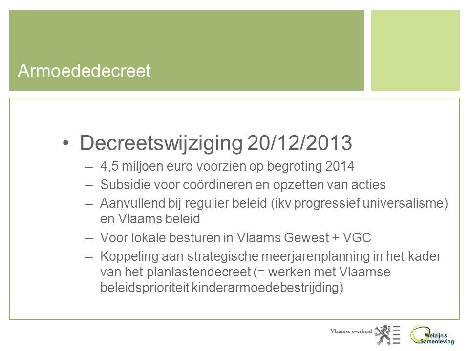 Decreetswijziging 20/12/2013 Armoededecreet