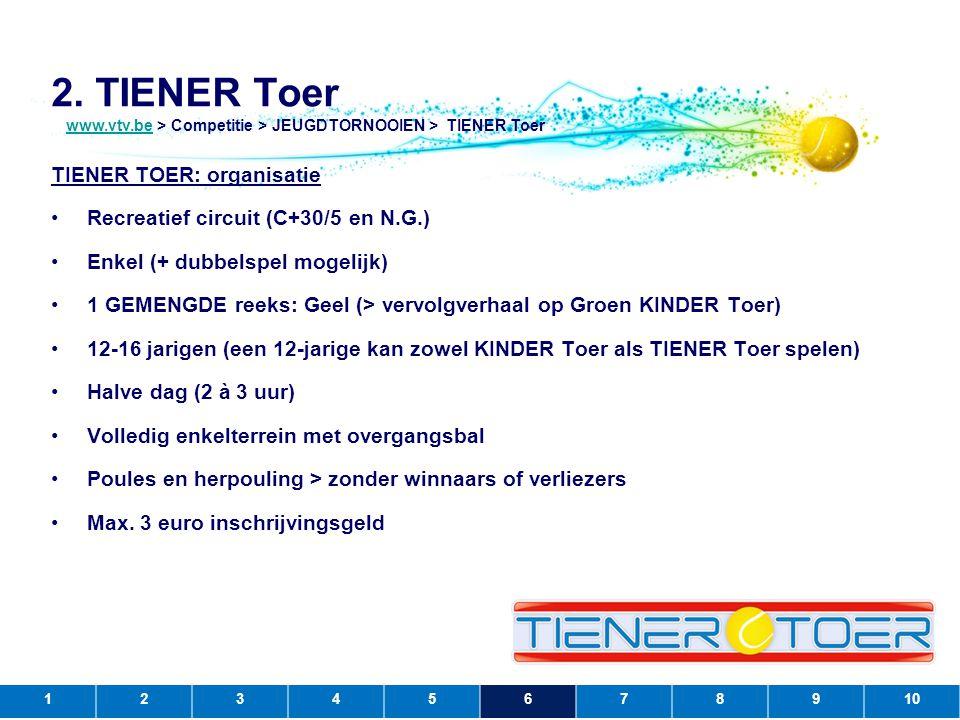 2. TIENER Toer TIENER TOER: organisatie