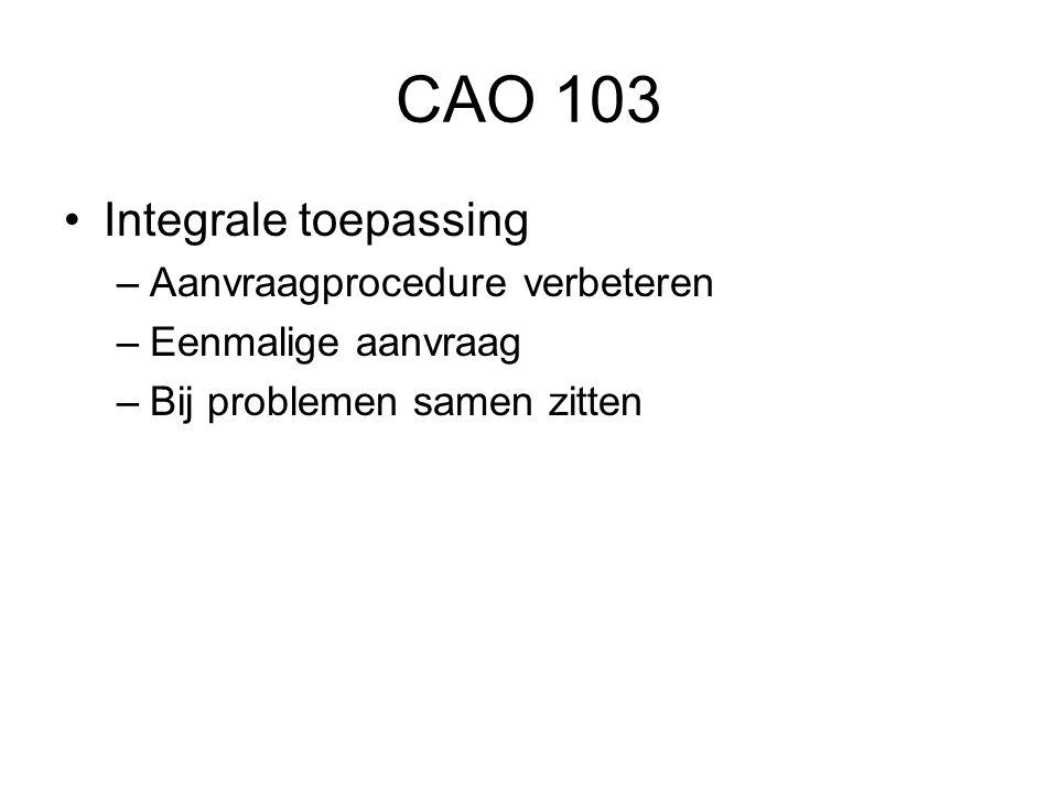 CAO 103 Integrale toepassing Aanvraagprocedure verbeteren