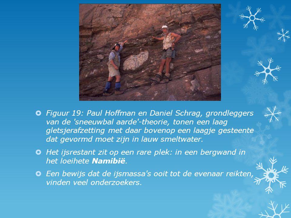 Figuur 19: Paul Hoffman en Daniel Schrag, grondleggers van de sneeuwbal aarde -theorie, tonen een laag gletsjerafzetting met daar bovenop een laagje gesteente dat gevormd moet zijn in lauw smeltwater.