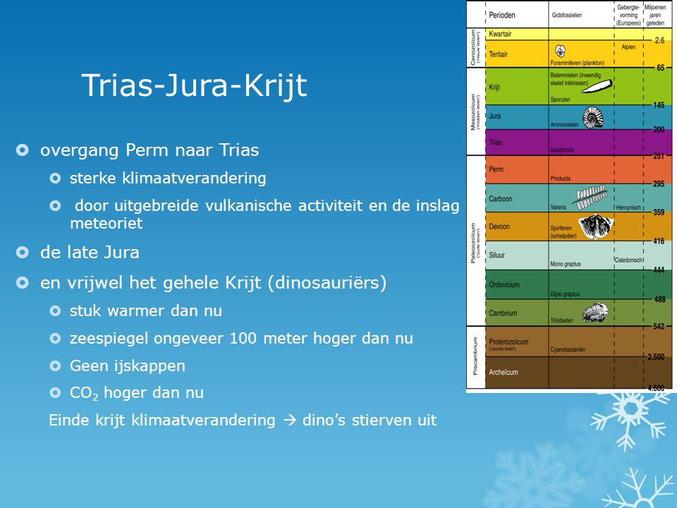 Trias-Jura-Krijt overgang Perm naar Trias de late Jura
