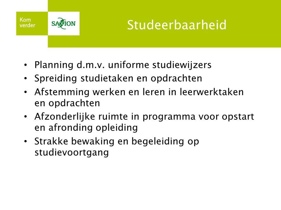 Studeerbaarheid Planning d.m.v. uniforme studiewijzers