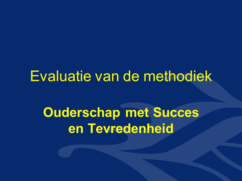 Evaluatie van de methodiek
