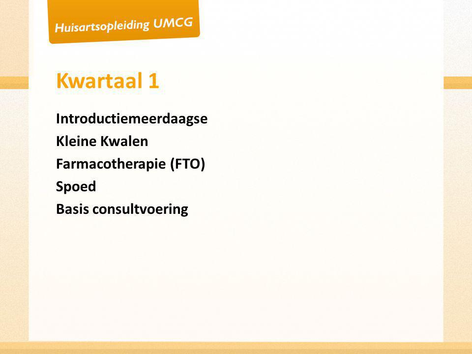 Kwartaal 1 Introductiemeerdaagse Kleine Kwalen Farmacotherapie (FTO)