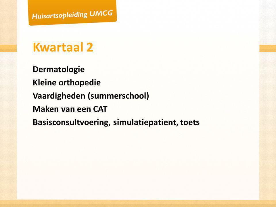 Kwartaal 2 Dermatologie Kleine orthopedie Vaardigheden (summerschool)
