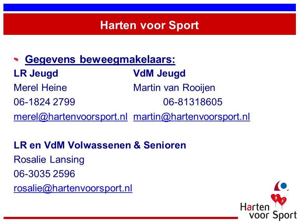 Harten voor Sport Gegevens beweegmakelaars: LR Jeugd VdM Jeugd