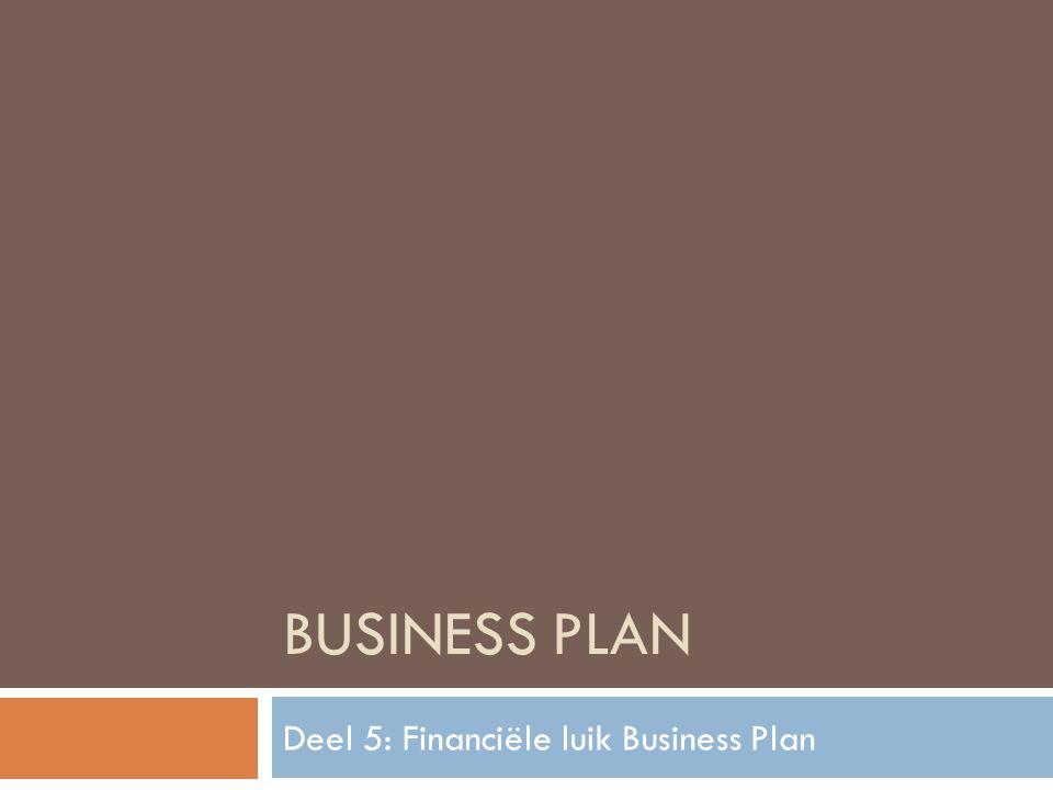 Deel 5: Financiële luik Business Plan
