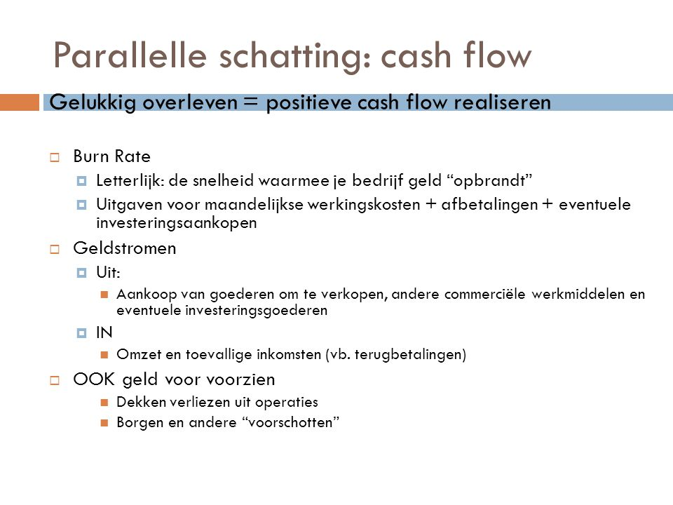Parallelle schatting: cash flow
