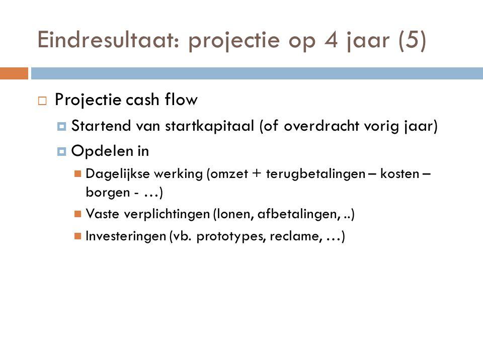 Eindresultaat: projectie op 4 jaar (5)