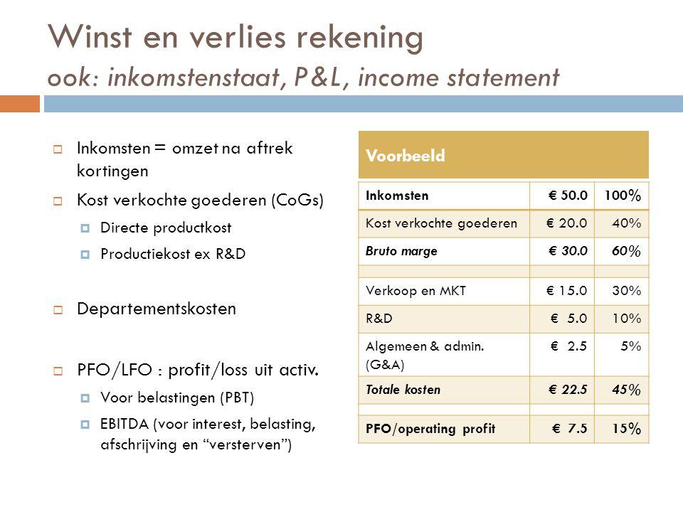 Winst en verlies rekening ook: inkomstenstaat, P&L, income statement