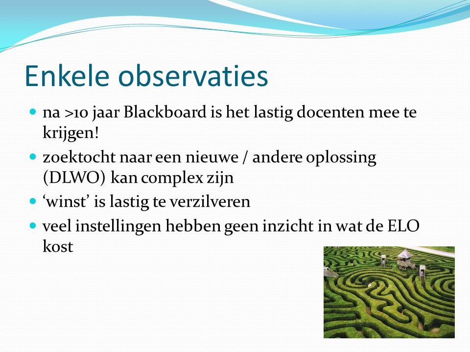 Enkele observaties na >10 jaar Blackboard is het lastig docenten mee te krijgen!