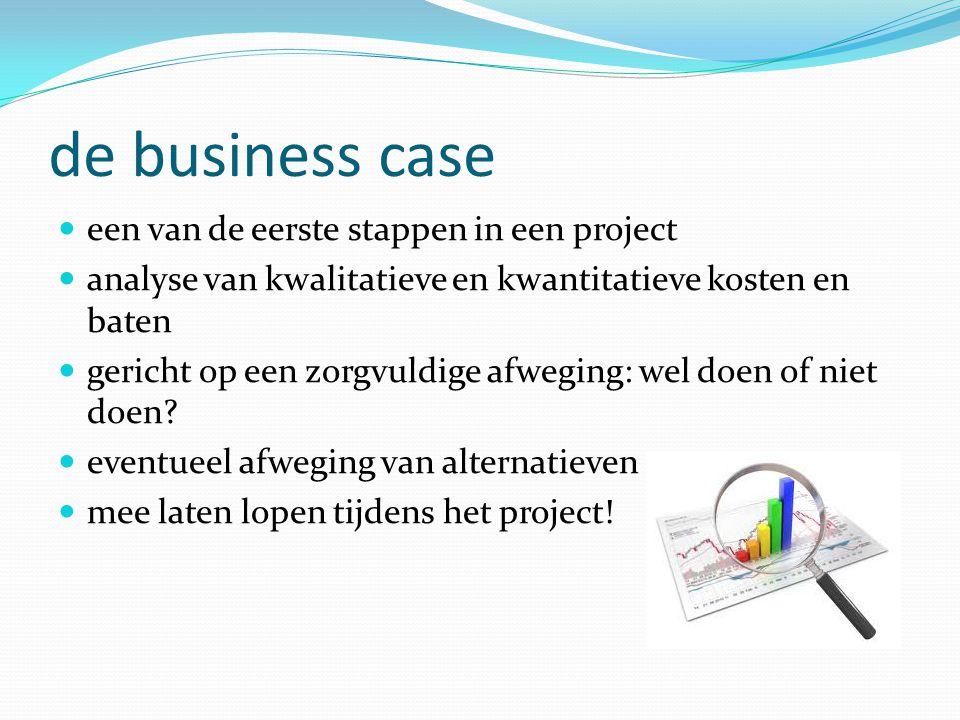 de business case een van de eerste stappen in een project