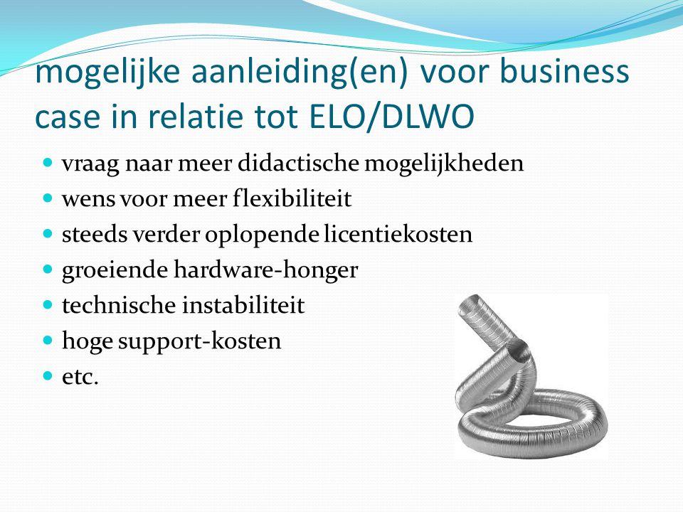 mogelijke aanleiding(en) voor business case in relatie tot ELO/DLWO