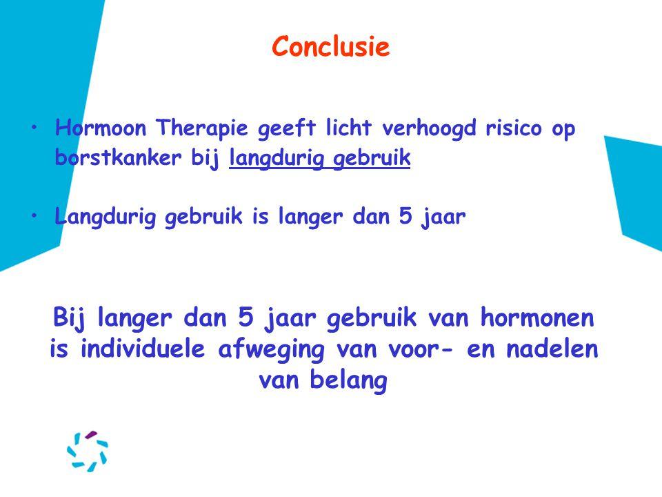 Conclusie Hormoon Therapie geeft licht verhoogd risico op borstkanker bij langdurig gebruik. Langdurig gebruik is langer dan 5 jaar.