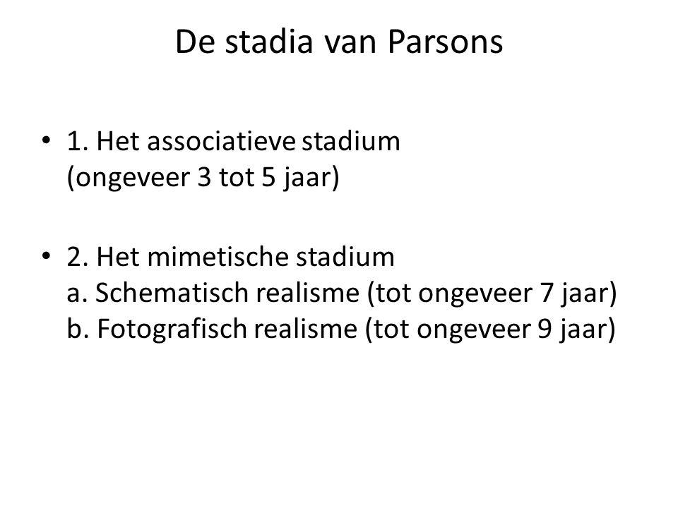 De stadia van Parsons 1. Het associatieve stadium (ongeveer 3 tot 5 jaar)