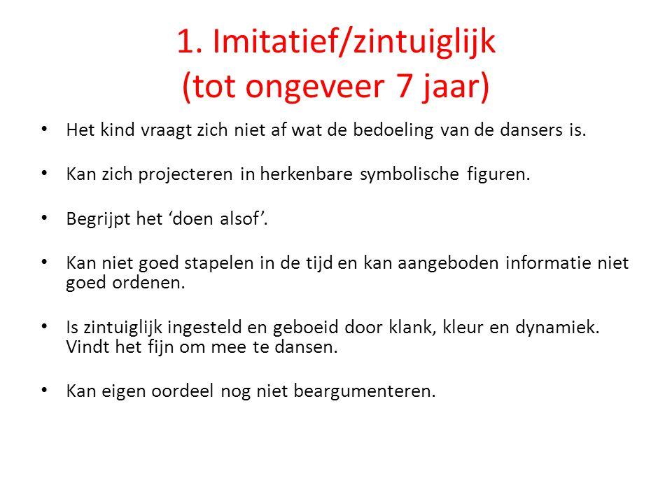 1. Imitatief/zintuiglijk (tot ongeveer 7 jaar)