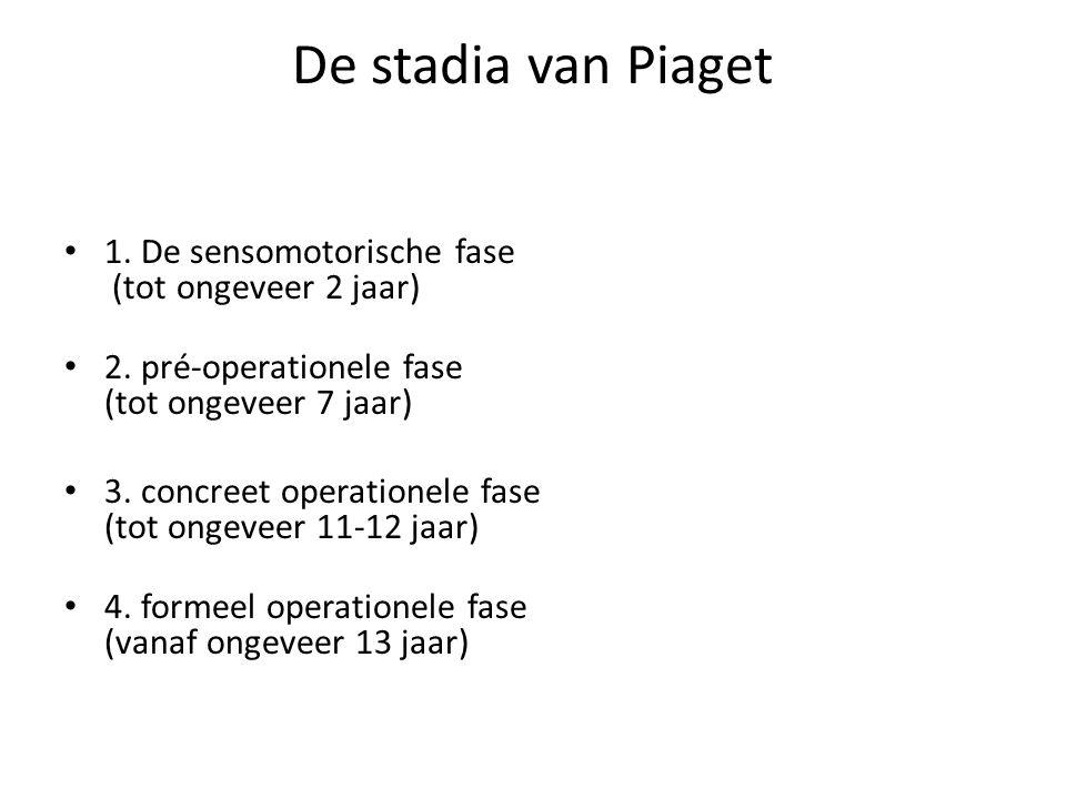 De stadia van Piaget 1. De sensomotorische fase (tot ongeveer 2 jaar)