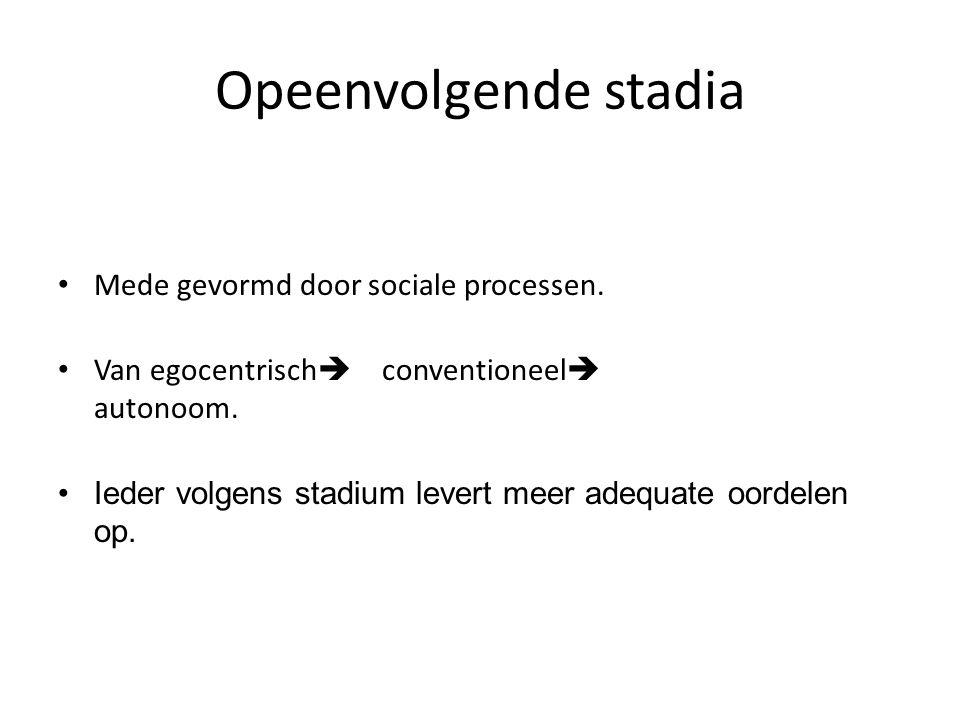 Opeenvolgende stadia Mede gevormd door sociale processen.