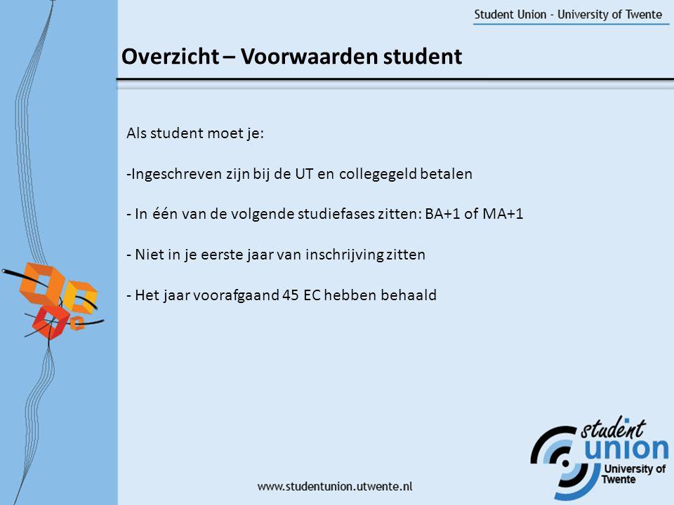 Overzicht – Voorwaarden student