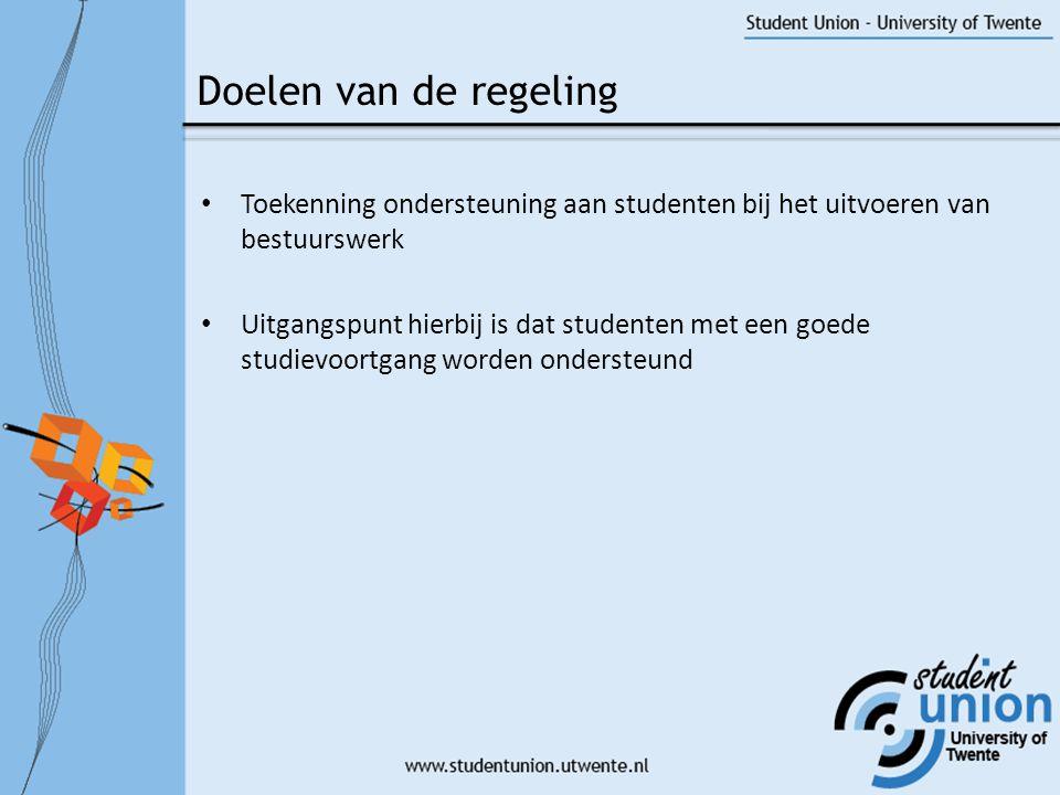 Doelen van de regeling Toekenning ondersteuning aan studenten bij het uitvoeren van bestuurswerk.