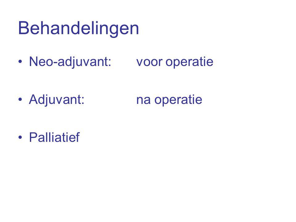 Behandelingen Neo-adjuvant: voor operatie Adjuvant: na operatie