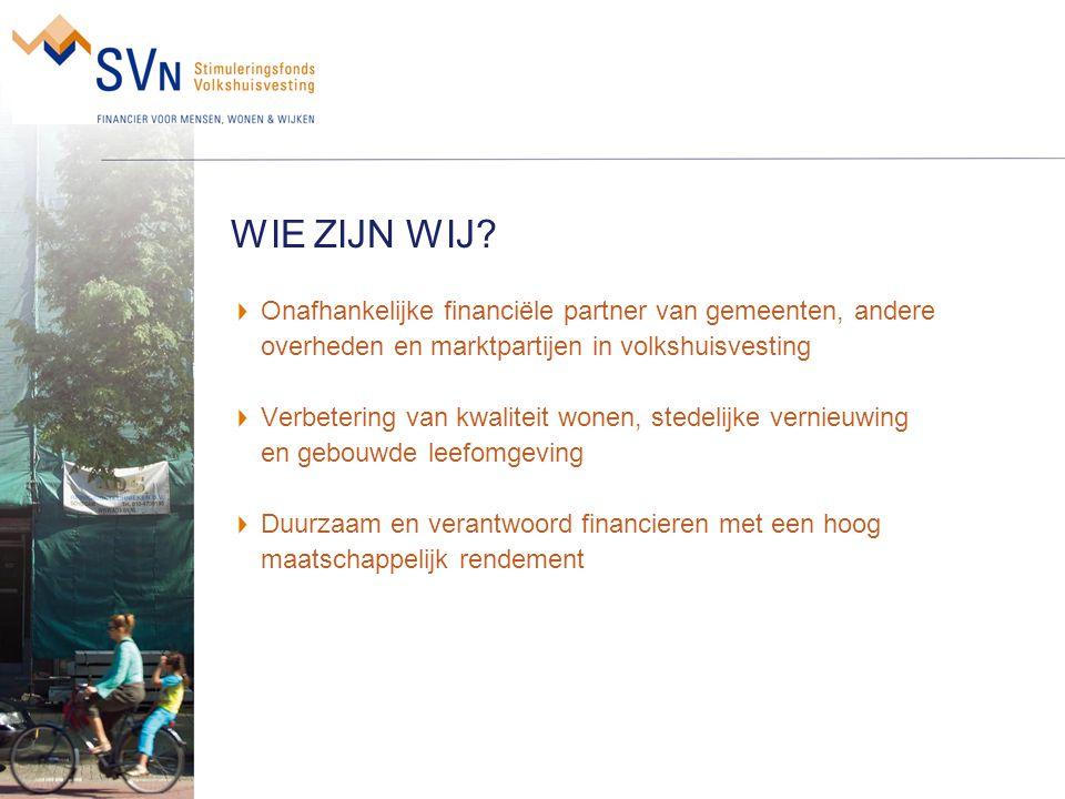 WIE ZIJN WIJ Onafhankelijke financiële partner van gemeenten, andere overheden en marktpartijen in volkshuisvesting.