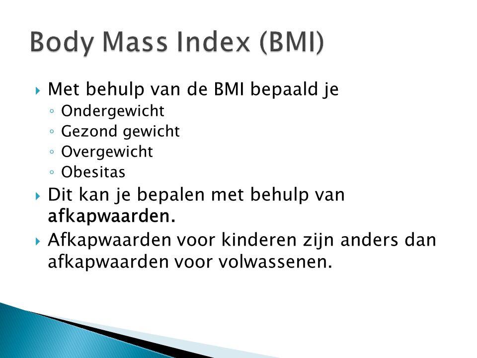 Body Mass Index (BMI) Met behulp van de BMI bepaald je