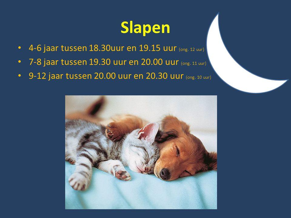 Slapen 4-6 jaar tussen 18.30uur en 19.15 uur (ong. 12 uur)