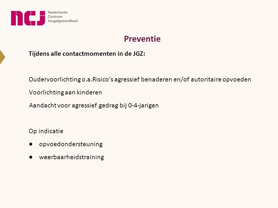 Preventie Tijdens alle contactmomenten in de JGZ: