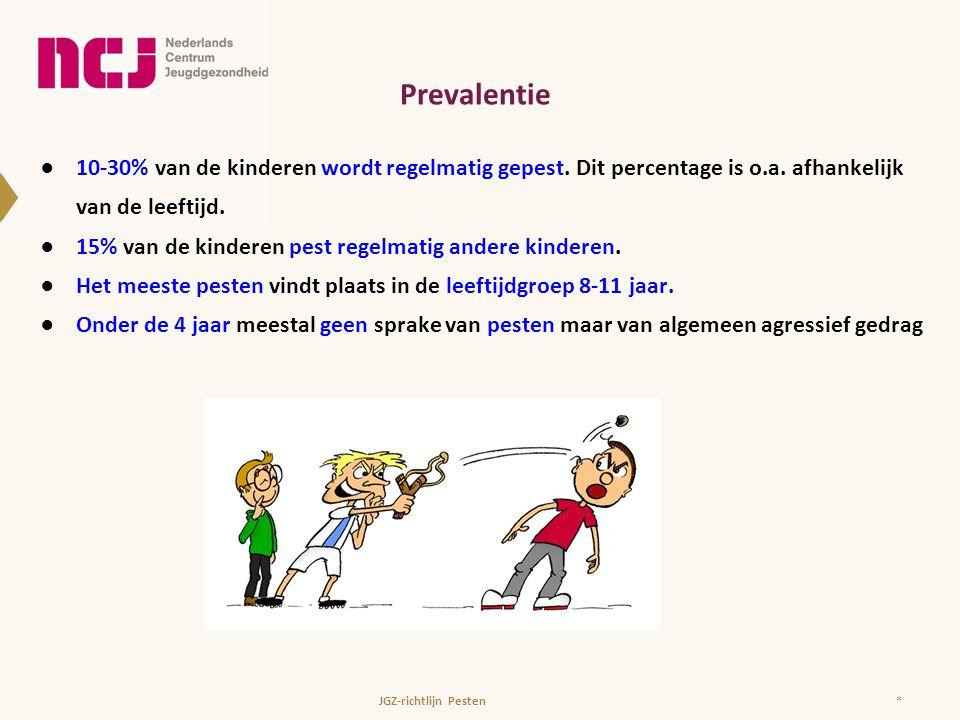 Prevalentie 10-30% van de kinderen wordt regelmatig gepest. Dit percentage is o.a. afhankelijk van de leeftijd.