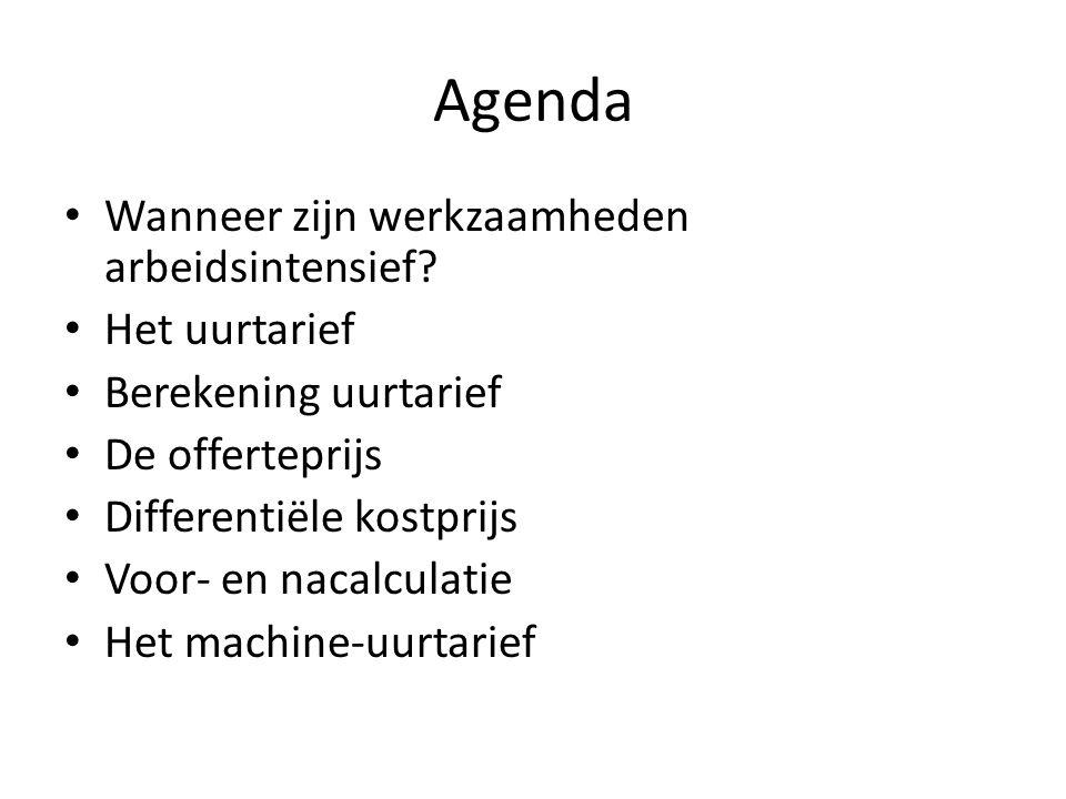 Agenda Wanneer zijn werkzaamheden arbeidsintensief Het uurtarief