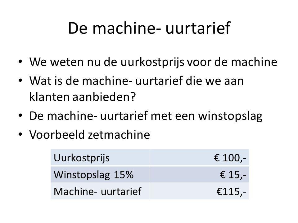 De machine- uurtarief We weten nu de uurkostprijs voor de machine