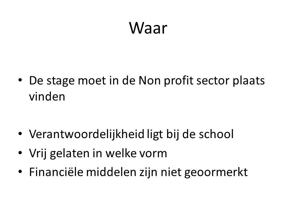 Waar De stage moet in de Non profit sector plaats vinden