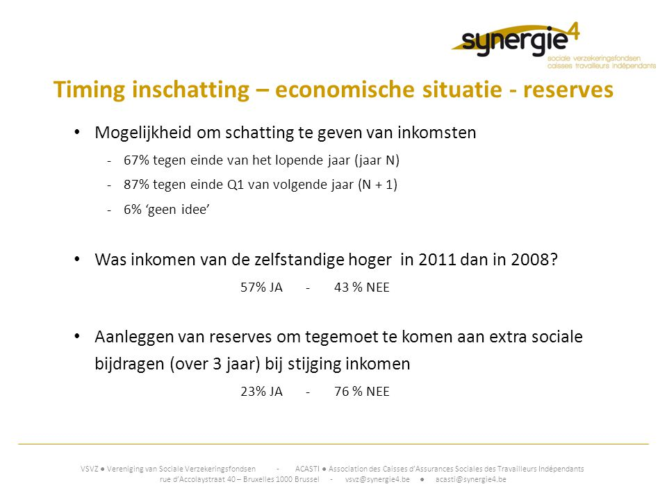 Timing inschatting – economische situatie - reserves