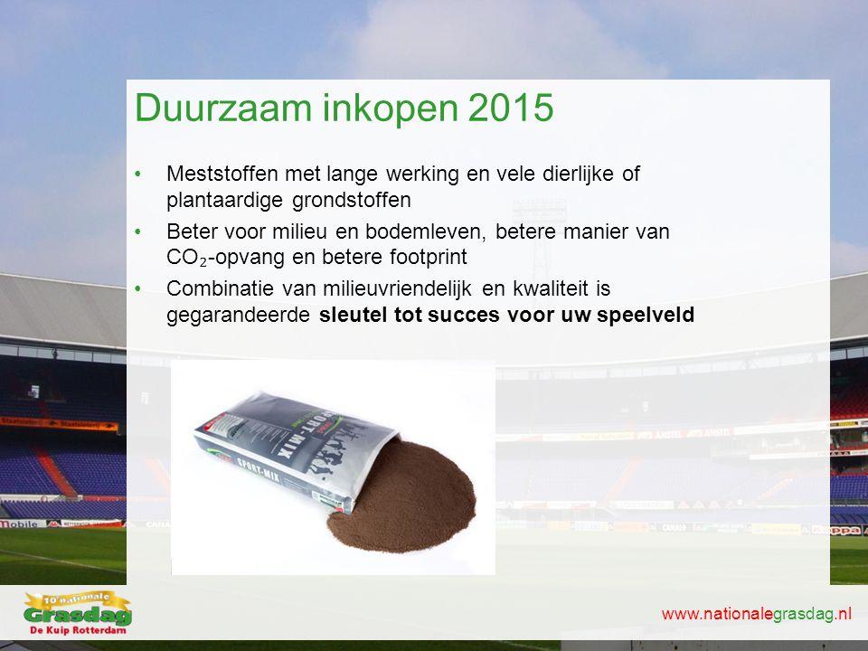 Duurzaam inkopen 2015 Meststoffen met lange werking en vele dierlijke of plantaardige grondstoffen.