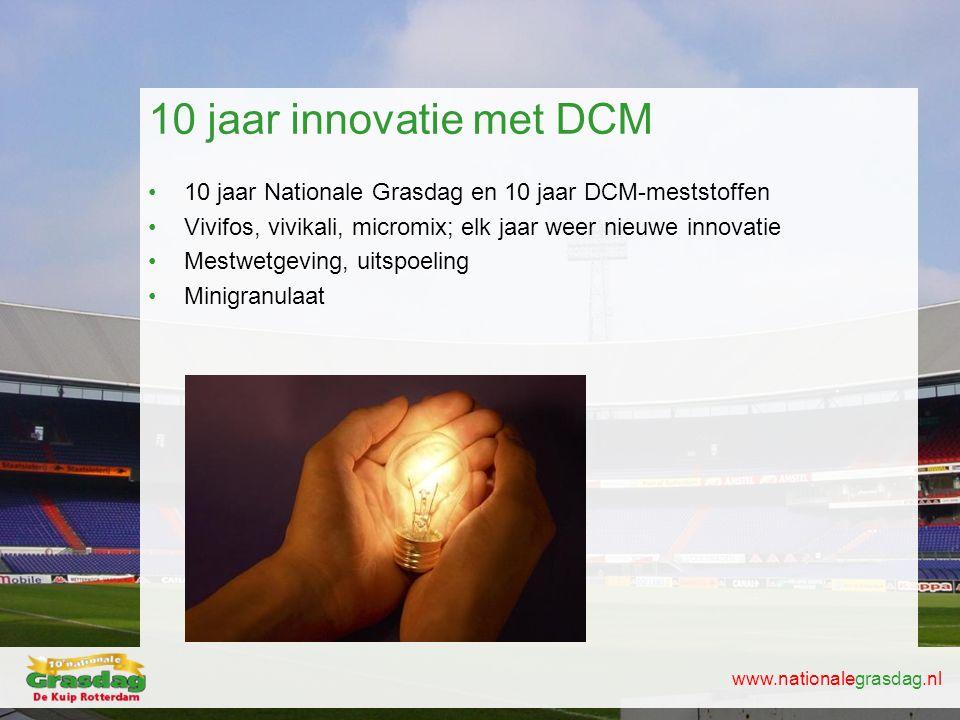 10 jaar innovatie met DCM 10 jaar Nationale Grasdag en 10 jaar DCM-meststoffen. Vivifos, vivikali, micromix; elk jaar weer nieuwe innovatie.