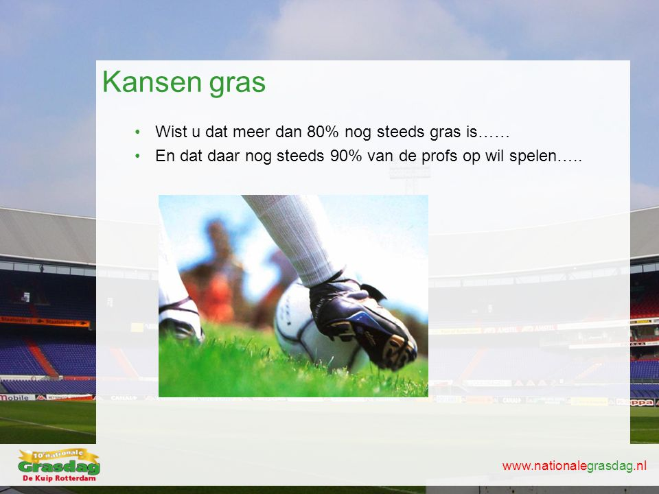 Kansen gras Wist u dat meer dan 80% nog steeds gras is……