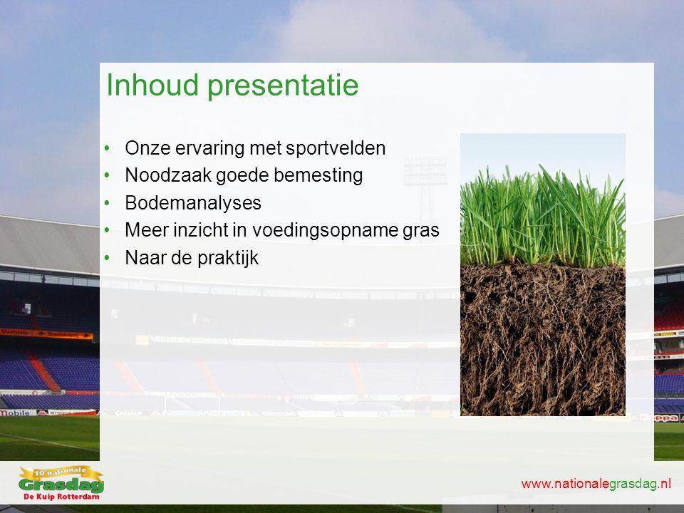 Inhoud presentatie Onze ervaring met sportvelden
