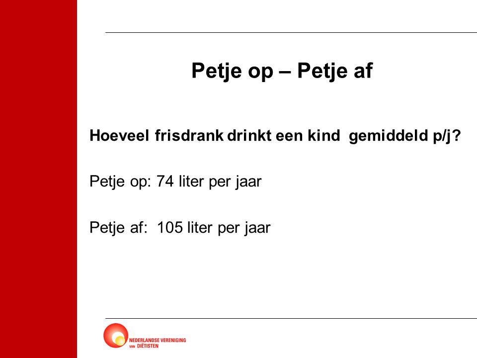 Petje op – Petje af Hoeveel frisdrank drinkt een kind gemiddeld p/j.