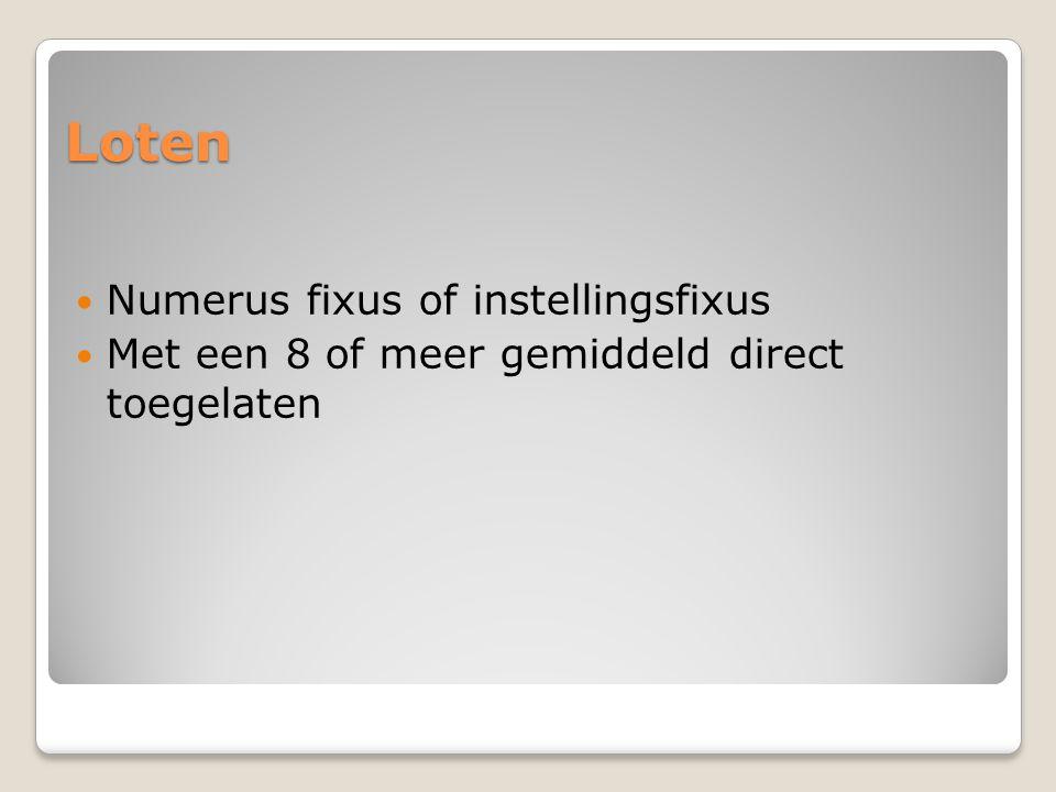 Loten Numerus fixus of instellingsfixus