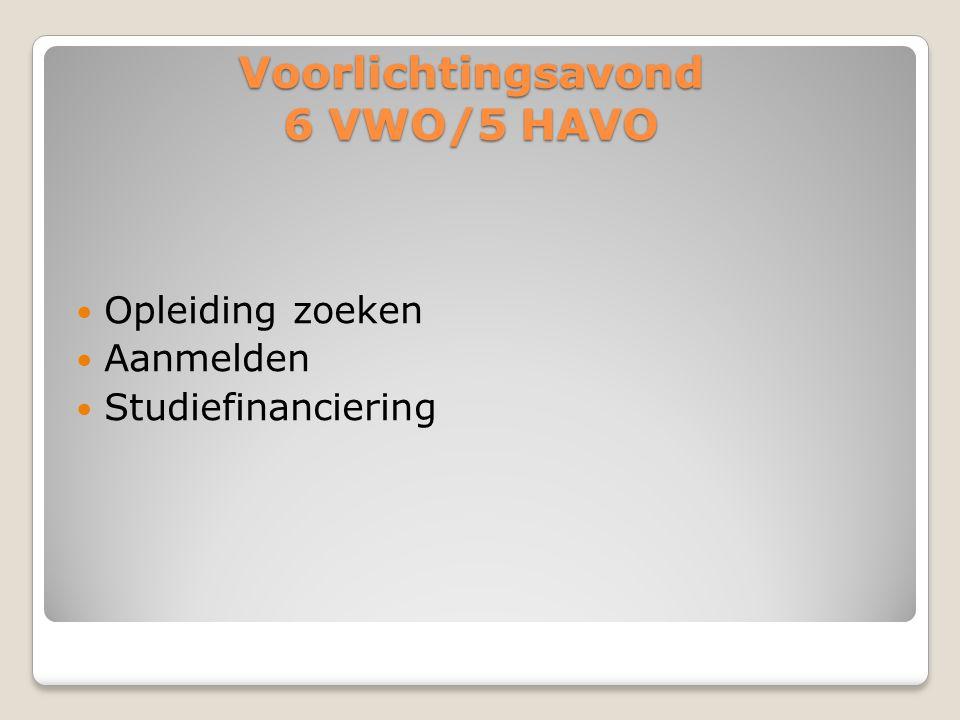 Voorlichtingsavond 6 VWO/5 HAVO