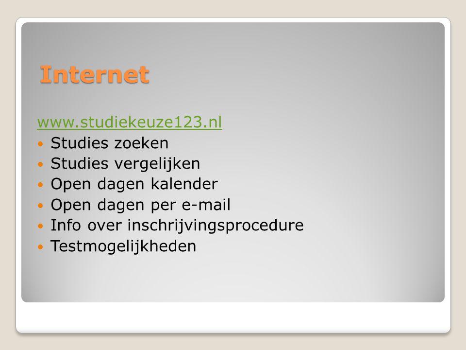 Internet www.studiekeuze123.nl Studies zoeken Studies vergelijken