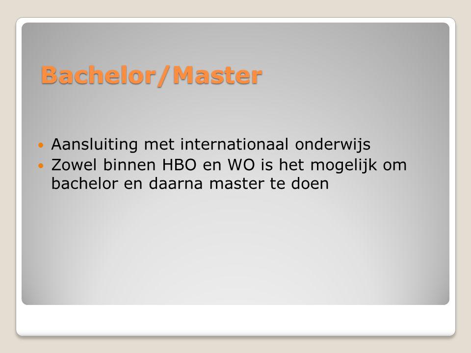 Bachelor/Master Aansluiting met internationaal onderwijs