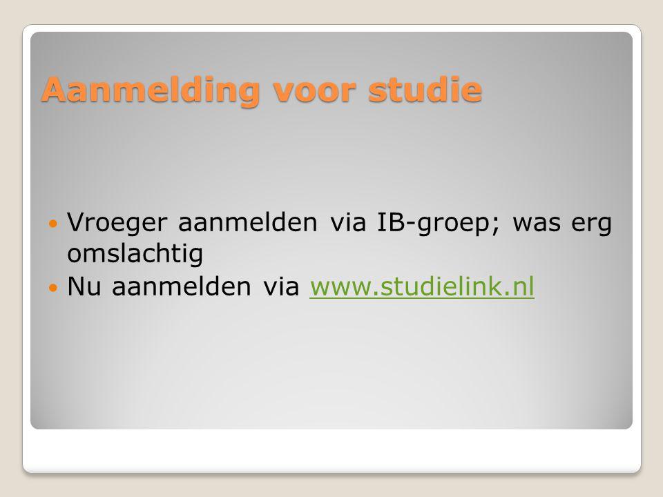 Aanmelding voor studie