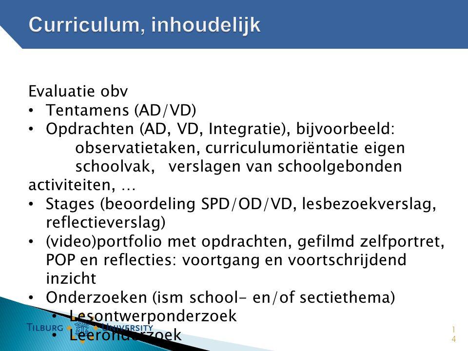 Curriculum, inhoudelijk
