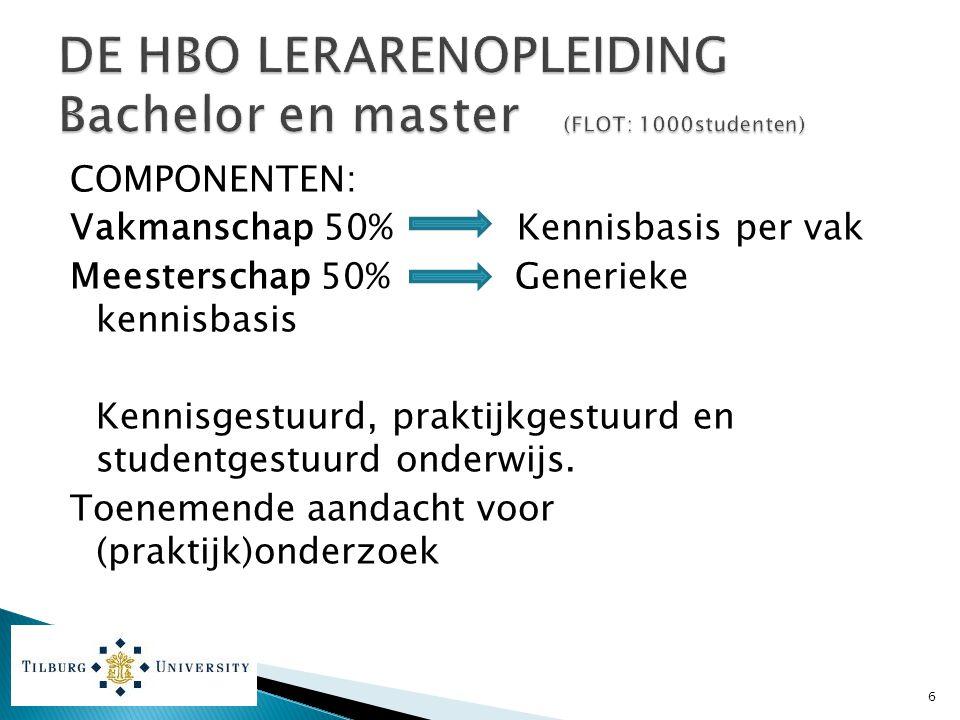 DE HBO LERARENOPLEIDING Bachelor en master (FLOT: 1000studenten)